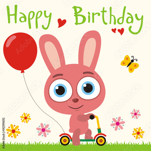 Happy Birthday Funny Bunny Rabbit Going On Scooter With Red Balloon Card