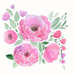 Colorful floral watercolor illustration. Vintage  card  hand drawn flowers.
