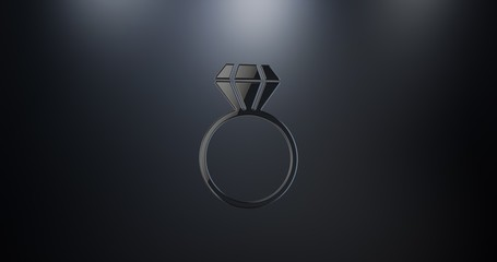 Diamond Ring Black 3d Icon