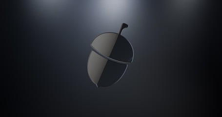 Acorn Nut Black 3d Icon