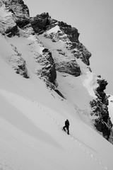 Climber on the mountain in black and white