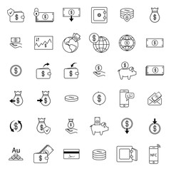 Set with money icons