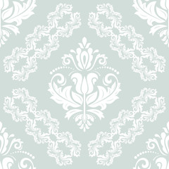 Damask classic white pattern. Seamless abstract background with repeating elements