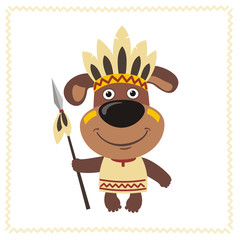 Funny puppy dog in costume of american Indian with spear. Indian puppy dog in cartoon style.