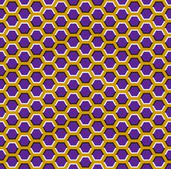 Optical motion illusion seamless pattern. Purple hexagons move on yellow background.