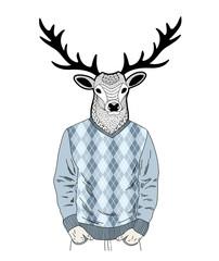 Creative portrait of dressed deer.