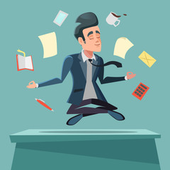 Businessman in Nirvana at Office Work. Man Meditating. Vector cartoon illustration