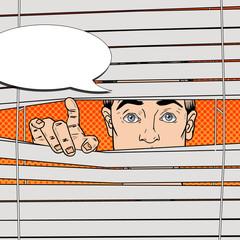 Man Looking Through the Blinds. Pop Art Vector retro illustration