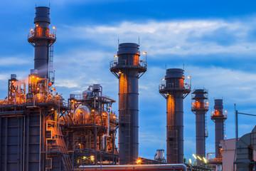 Gas turbine electric power plant with blue sky