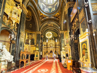 Interior of Domnita Balasa church in Bucharest, Romania