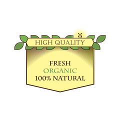 Logo, icon, label for food. Natural, fresh quality products. Vector retro style