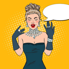 Wonderful Woman in Black Dress with Diamond Jewelry. Pop Art Vector illustration