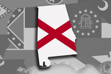 Alabama map and flag