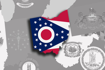 Ohio map and flag