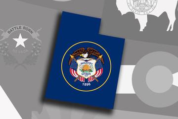 Utah map and flag