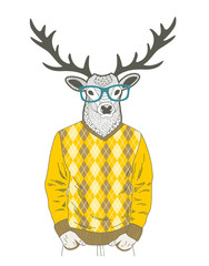 Doodle dressed up deer in hipster style.