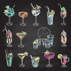 Hand drawn sketch set of alcoholic cocktails. Vector illustration