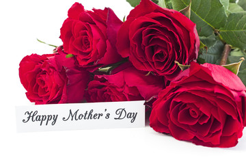 Happy Mother's Day,  Greeting Card,  with Bouquet of Red Roses