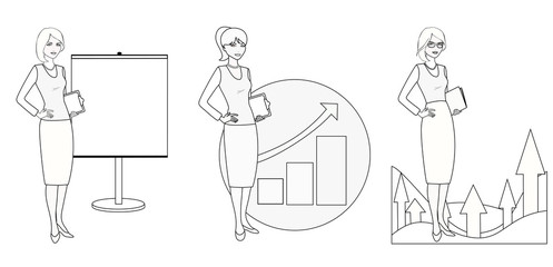 Set of illustrations of a businesswoman in a monochrome version.