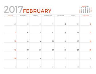 2017 Calendar Planner Vector Design Template. February. Week Starts Sunday