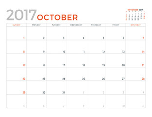 2017 Calendar Planner Vector Design Template. October. Week Starts Sunday