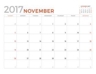 2017 Calendar Planner Vector Design Template. November. Week Starts Sunday