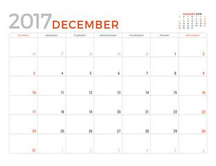 2017 Calendar Planner Vector Design Template. December. Week Starts Sunday