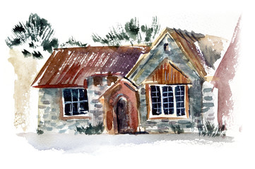 English cottage. Old England. Watercolor hand drawn illustration.