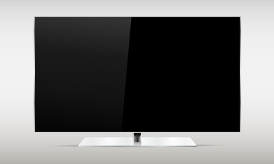 Black TV screen isolated on white background. Mockup for showcase your presentation or advertising projects. Vector illustration