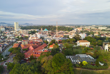 MARCH 30, 2017: Arial View Historical part of the old Malaysian town in Malacca. It was listed as a UNESCO World Heritage Site together with George Town on 2008