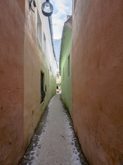 Strada Sforii (Rope Street) is the narrowest street in Brasov, Romania, and one of the narrowest in the whole Europe, with a width between 111 and 135 centimeters