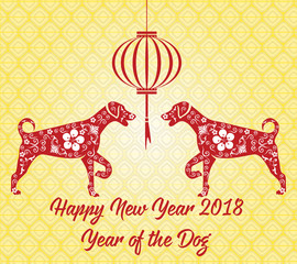 Happy Chinese new year 2018 card year of dog.