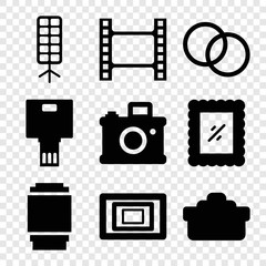 Set of 9 photo filled icons