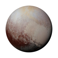 dwarf planet Pluto isolated on white background (3d illustration, elements of this image are furnished by NASA)
