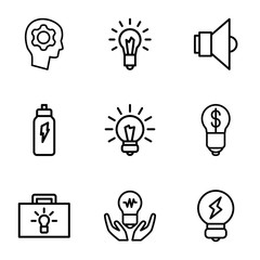 Set of 9 innovation outline icons