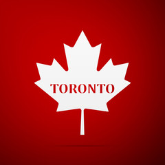 Canadian maple leaf with city name Toronto flat icon on red background. Vector Illustration