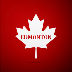 Canadian maple leaf with city name Edmonton flat icon on red background. Vector Illustration