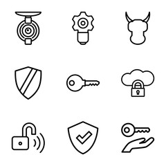 Set of 9 protect outline icons