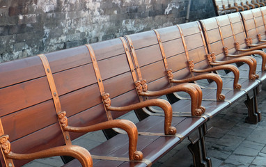 Bench in imperial palace in Forbidden City, Beijing, China