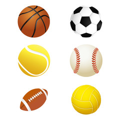 Sports balls. Set for soccer and tennis, rugby. Basketball and football balls