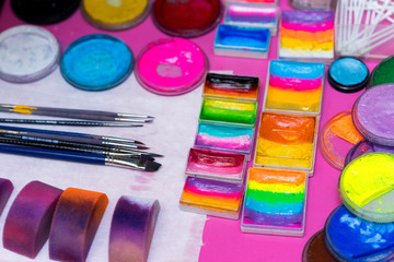 paints and brushes for children's makeup, for kids