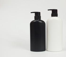 Black and white plastic bottle White background. Flask. Isolated.