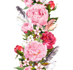 Floral border with flowers, roses, feathers. Vintage repeated strip. Watercolor
