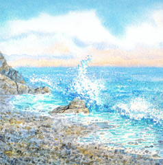 Watercolor seascape. Surf