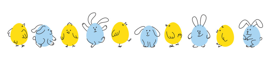 Set of funny Easter bunnies and chicks