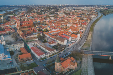 Kaunas old town, drone view