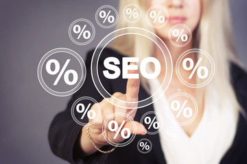 Wall Mural - Business button seo network percent icon