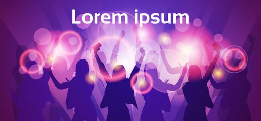 Silhouette Woman Group Dancing Night Club Light Flat Vector Illustration