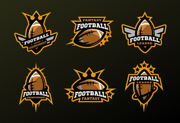 Set of sports logos, games in American football .