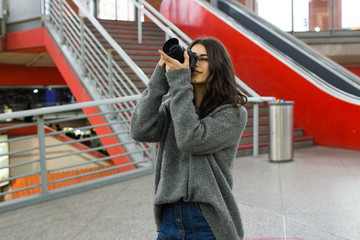 Woman taking shots with camera